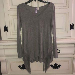 Alya Women's Grey Long Sleeve Fringe V Neck